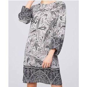 Loft Black & White Paisley Shift Dress